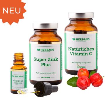 Immun-Kraft-Paket mit Vitamin D, Zink und Vitamin C